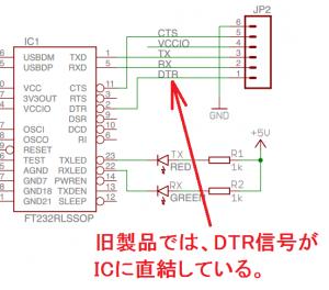 旧製品のDTR信号ライン