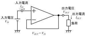 電圧フォロワの入出力電流