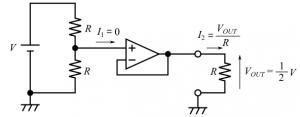電圧フォロワ付きの分圧回路