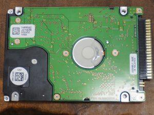 物理破壊処理後のHDDの裏面