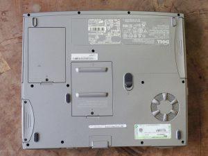 故障したパソコンの底面