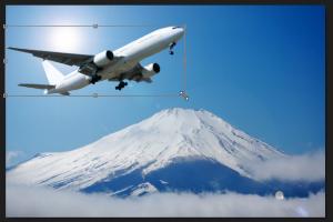 マーカーを使って飛行機の大きさや位置を調整する