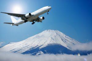 最終的に得られた富士山と飛行機の合成写真