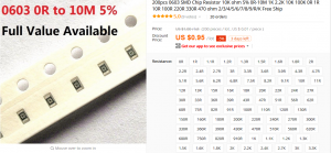 AliExpressのチップ抵抗の販売ページ