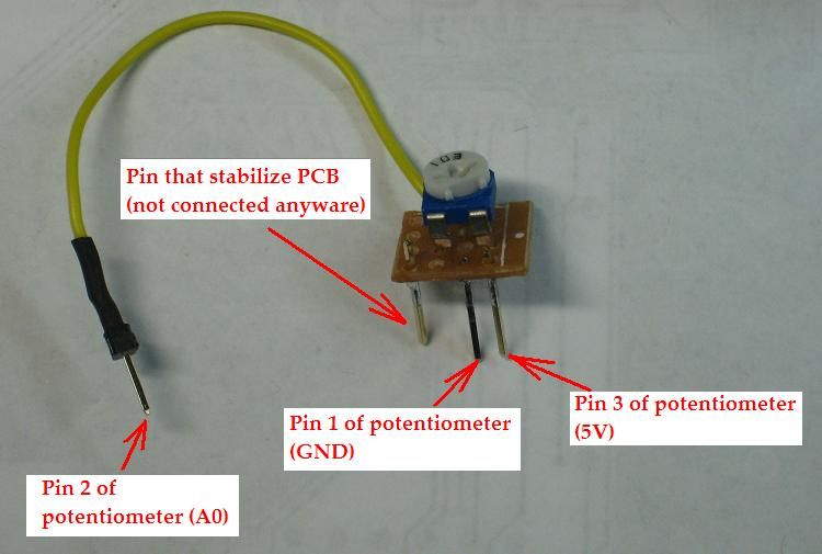 3 pins of this trimmer potentiometer are inserted to the socket of a graphic LCD shield so that they are connected to 5V, GND and A0 pin.